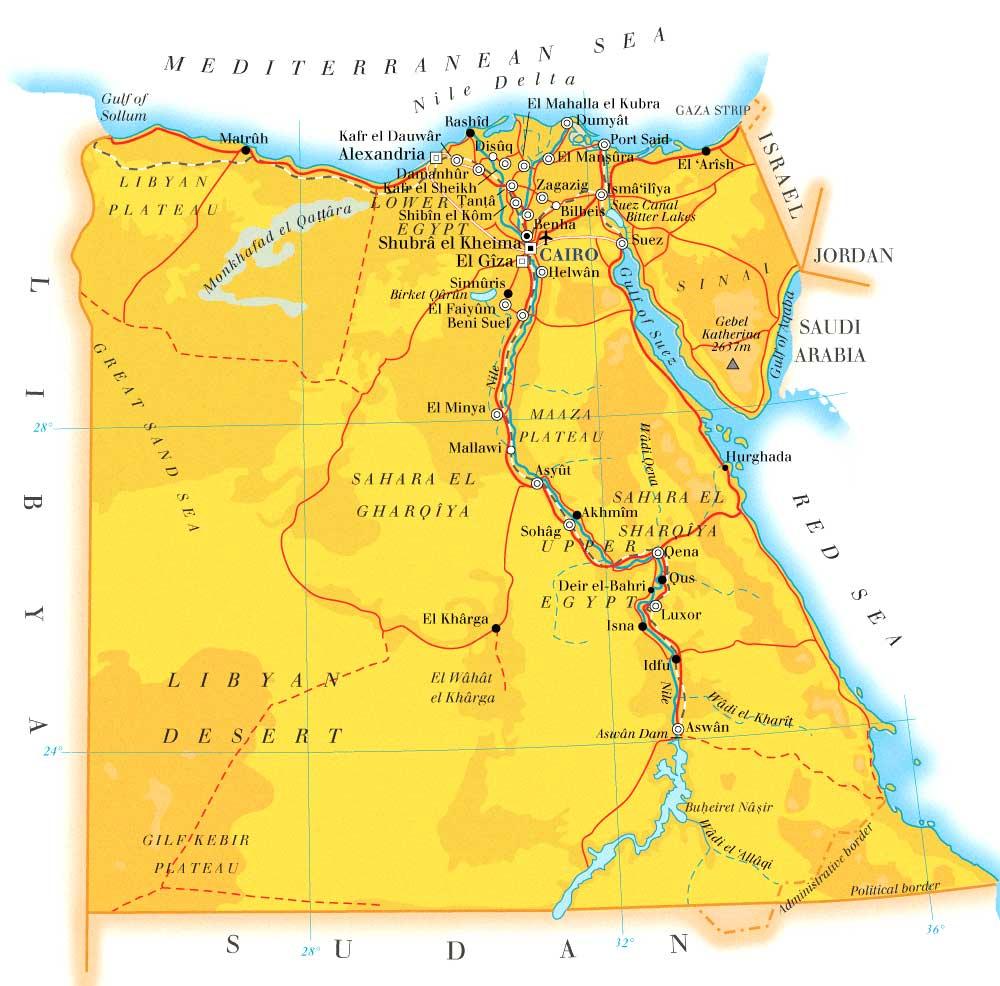 埃及地形图手绘